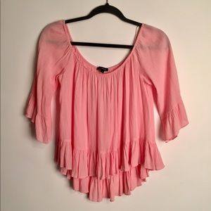 Ambiance pink off the shoulders blouse EUC L